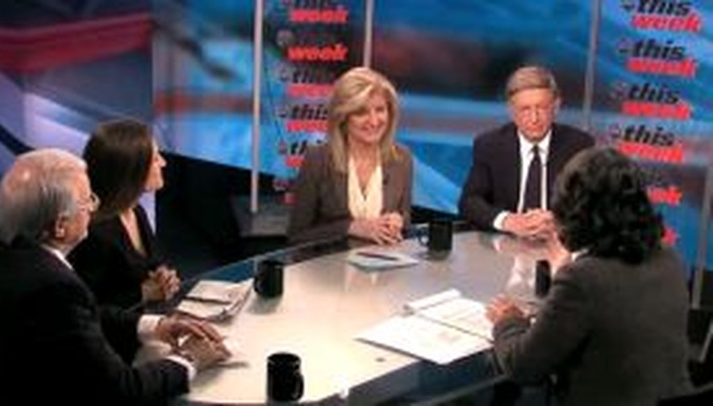 "On the May 1, 2011, edition of ABC's ""This Week,"" Arianna Huffington (center) said that the recent decline in unemployment had more to do with people leaving the labor force rather than jobs being created. We check her claim."