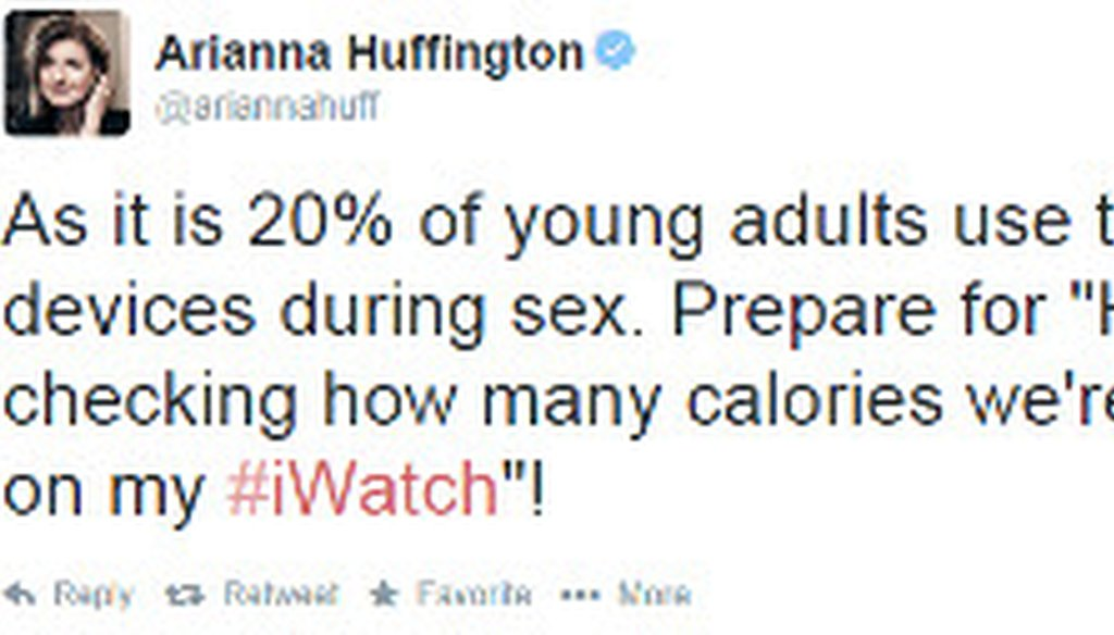Arianna Huffington referenced an unscientific online poll in this tweet about the latest product from Apple.
