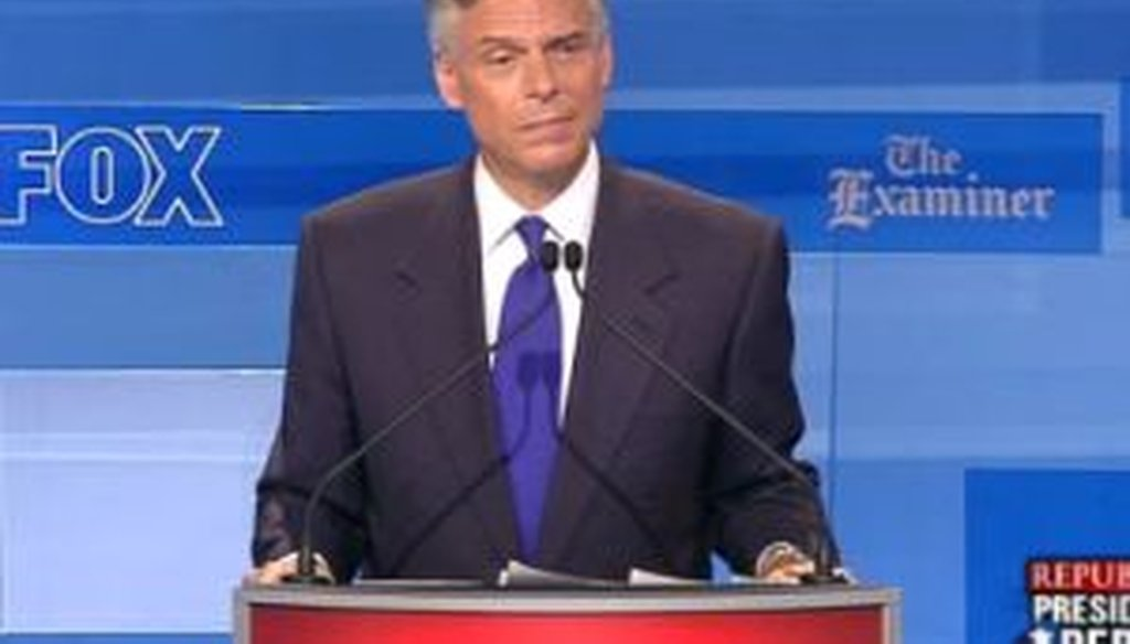 Former Utah Gov. Jon Huntsman was one of eight candidates to take part in a debate in Ames, Iowa, on Aug. 11, 2011.