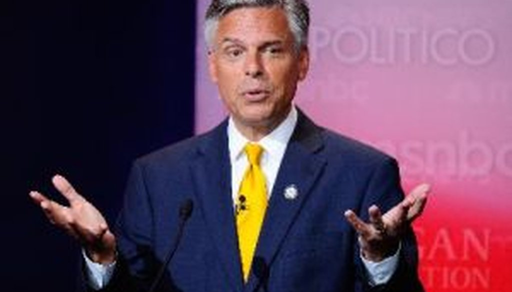 Republican presidential candidate Jon Huntsman took part in the GOP presidential debate at the Reagan Presidential Library on Sept. 7, 2011.