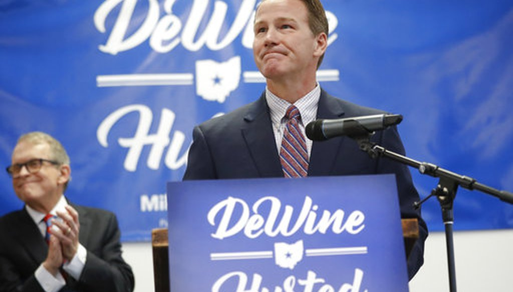 Ohio Secretary of State Jon Husted, right, speaks alongside Ohio Attorney General and former U.S. Sen. Mike DeWine, on Nov. 30, 2017 when Husted became DeWine's running mate for the Republican primary for governor. (AP)