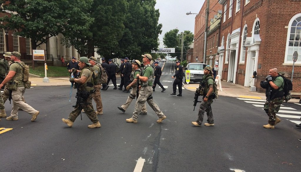 A group of men walking in Charlottesville, Va., Aug. 12, 2017 (Photo provided by the Office of Virginia Governor Terry McAuliffe)