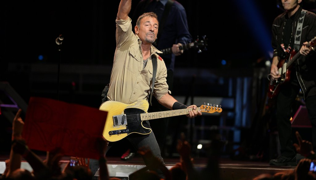 Bruce Springsteen in concert at Raleigh's PNC Arena, in 2014