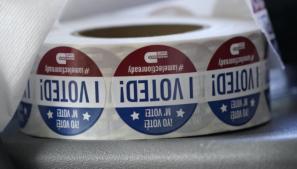 "A roll of ""I Voted!"" stickers are shown, Tuesday, Oct. 6, 2020, at the Miami-Dade County Elections Department in Doral, Fla. (AP)"