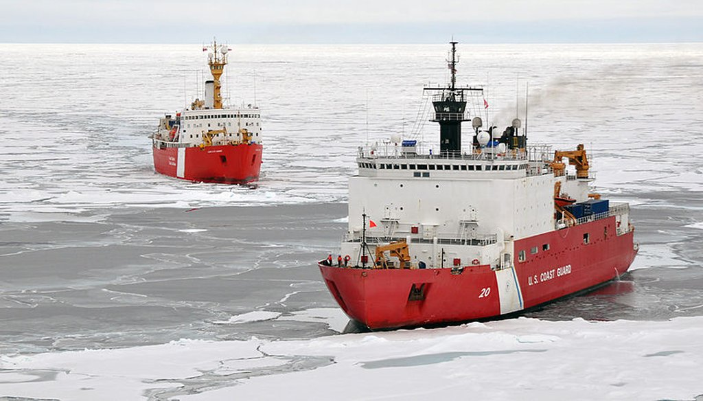 The Canadian Coast Guard ship Louis S. St-Laurent makes an approach to the Coast Guard Cutter Healy in the Arctic Ocean, Sept. 5, 2009. (Coast Guard)