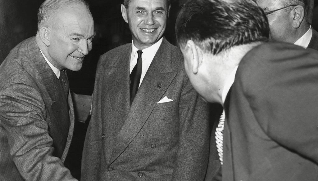 GOP presidential nominee Dwight Eisenhower, Wisconsin Gov. Walter Kohler and U.S. Sen. Joseph McCarthy met in Milwaukee in October 1952. Eisenhower was nominated though he was not the delegate leader entering the GOP convention. (Milwaukee Journal photo)