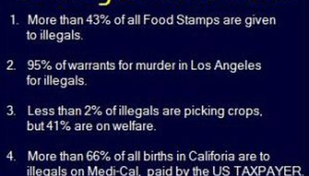 A reader asked us to check out this Facebook post with 10 claims about illegal aliens.