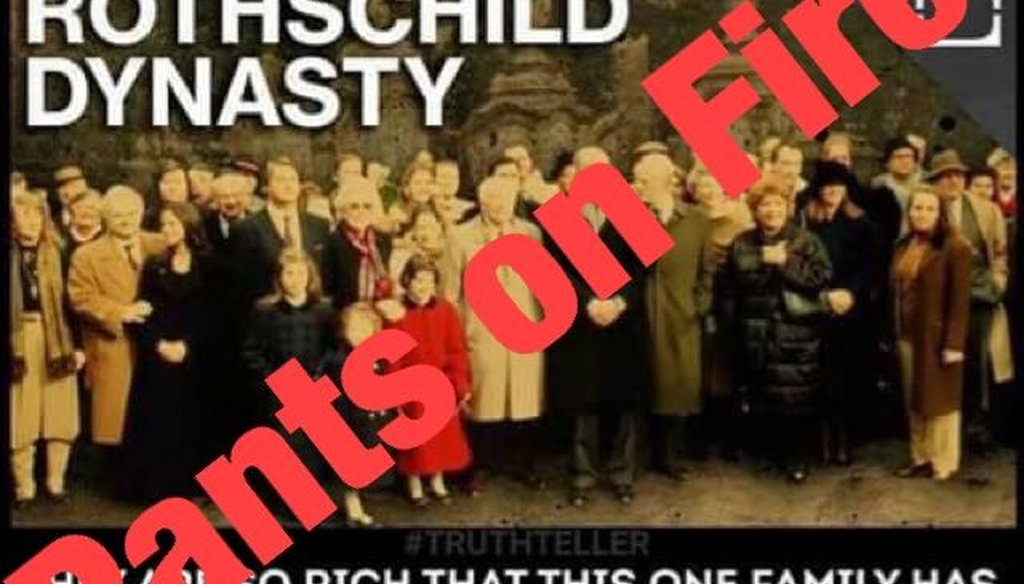 A meme shared on Facebook makes an unfounded claim about the magnitude of wealth possessed by the Rothschild family.