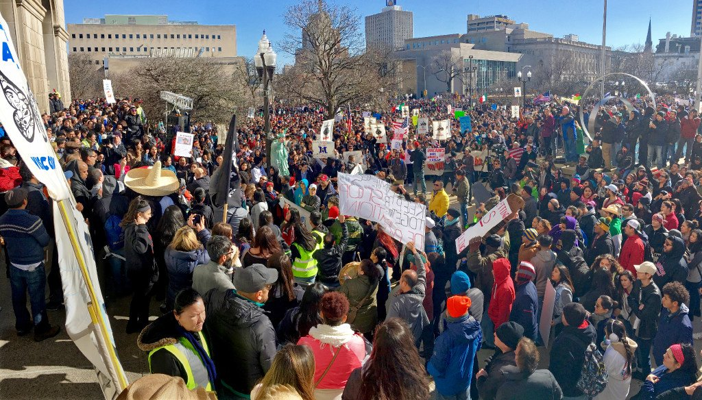 "Marchers demonstrated in Milwaukee for a ""Day Without Latinos, Immigrants and Refugees"" on Feb. 13, 2017. (Mike De Sisti/Milwaukee Journal Sentinel)"