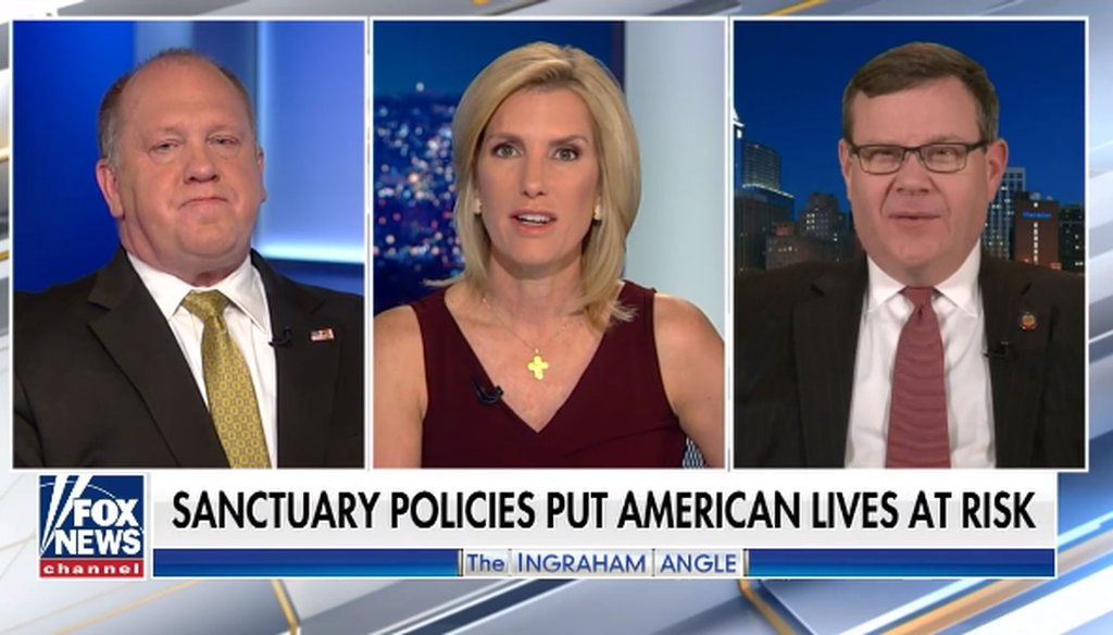 "Tom Homan, a former acting ICE director, Laura Ingraham, and North Carolina House Speaker Tim Moore discuss NC sheriffs on the Fox News show ""The Ingraham Angle,"" on March 20, 2019. (Screen grab)"