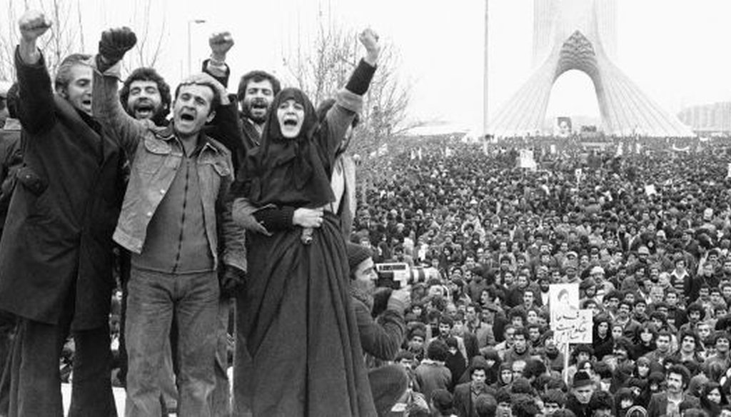 A scene from the Iranian Revolution in Shahyad Square in Tehran. (Wikimedia commons)