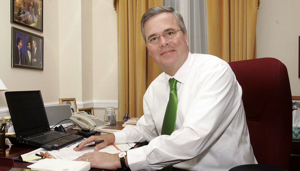 Then-Gov. Jeb Bush is shown in his office at the Capitol, Thursday, Oct. 25, 2006, in Tallahassee, Fla. (AP photo)