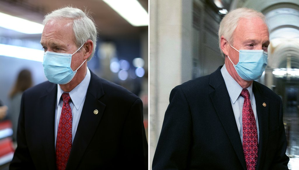 U.S. Sen. Ron Johnson, R-Wisconsin, is pictured arriving at (left) and leaving (right) the Senate impeachment hearings on Feb. 11, 2021. (Photos from Getty Images, Associated Press)