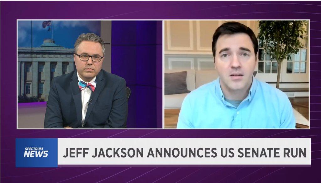 North Carolina State Sen. Jeff Jackson, a Democrat, speaks to Spectrum News anchor Tim Boyum about his U.S. Senate campaign on Jan. 26, 2021.