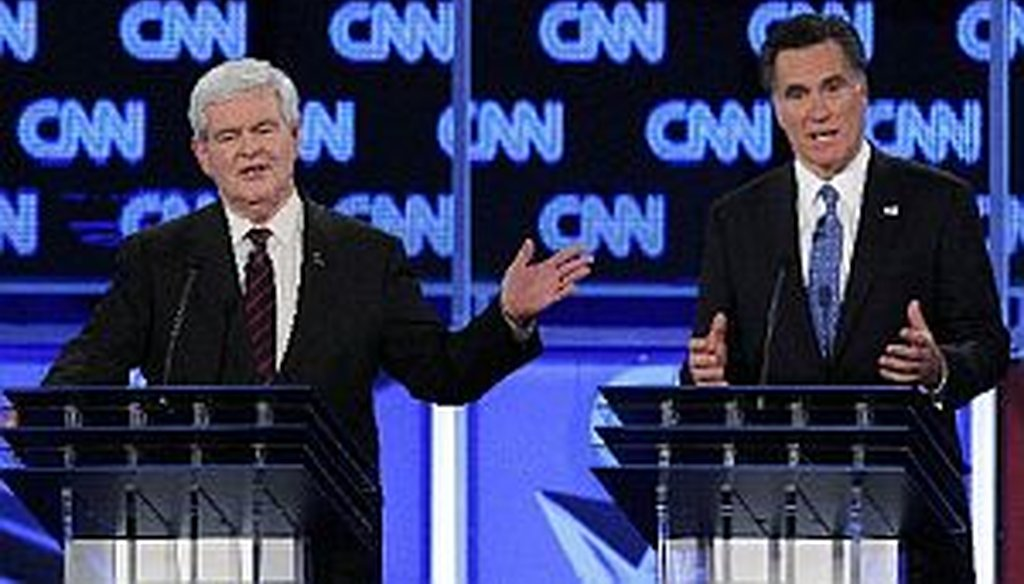 Newt Gingrich and Mitt Romney at the CNN debate in Jacksonville.