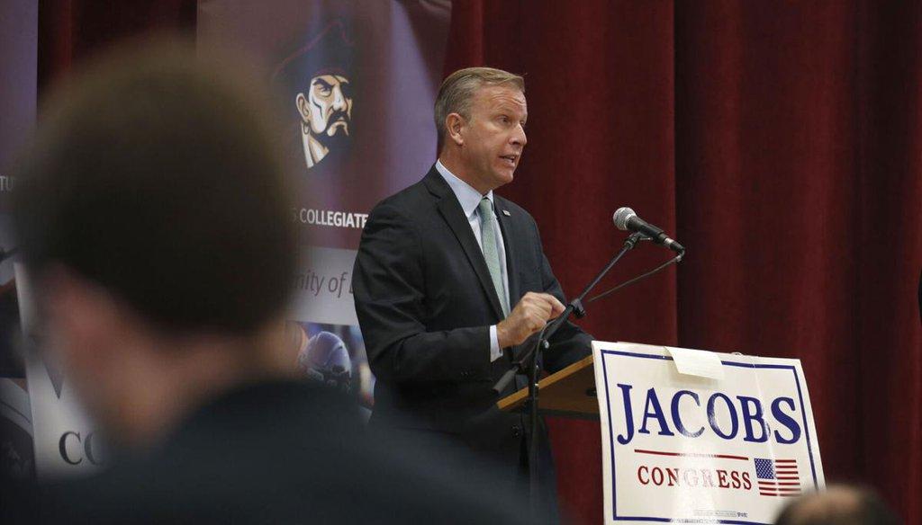 Rep. Chris Jacobs in a debate on Oct. 21, 2020, at St. Joseph's Collegiate Institute. (Robert Kirkham/Buffalo News)