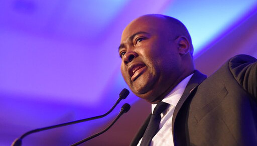 In this Feb. 24, 2020 photo, Democratic Senate candidate Jaime Harrison, who is challenging U.S. Sen. Lindsey Graham, R-S.C., speaks at a South Carolina Democratic Party dinner in Charleston, S.C. (AP)