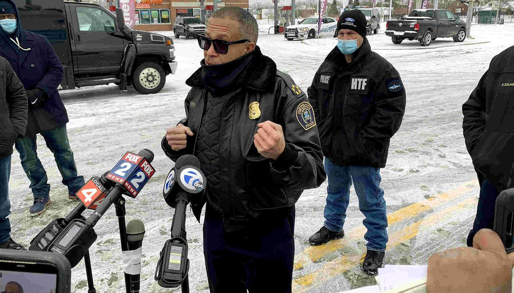 Detroit Police Chief James Craig speaks to the media after an incident at their 5th Precinct on Conner Street. (Kimberly P. Mitchell, Detroit Free Press)