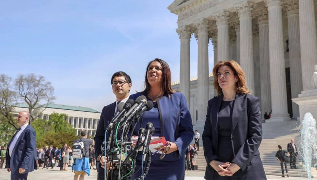 New York Attorney General Letitia James speaks outside the U.S. Supreme Court on April 23, 2019/courtesy New York State Attorney General/Facebook