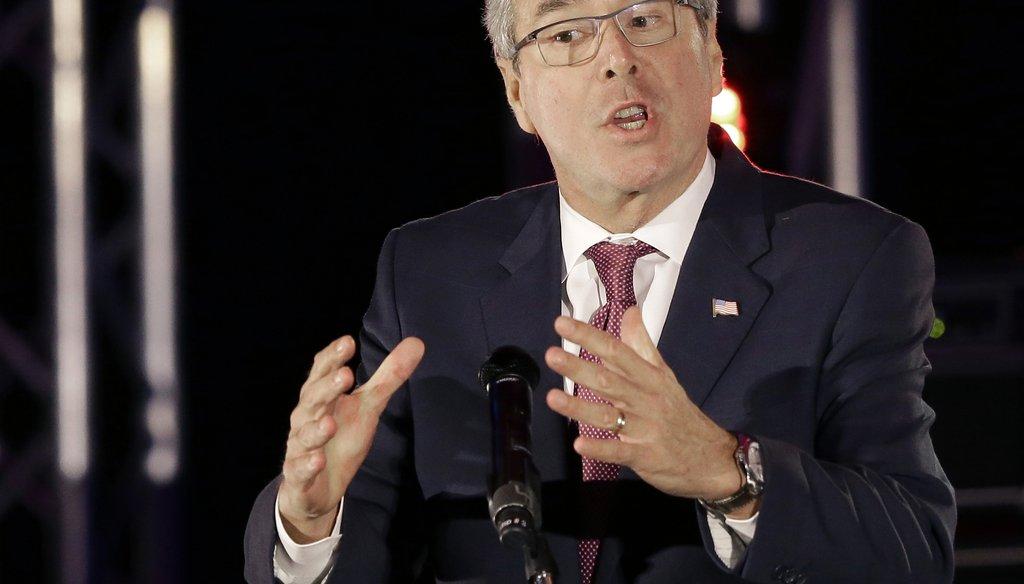 Former Florida Gov. Jeb Bush speaks to the National Christian Hispanic Leadership Conference in Houston on April 29, 2015. (AP Photo)