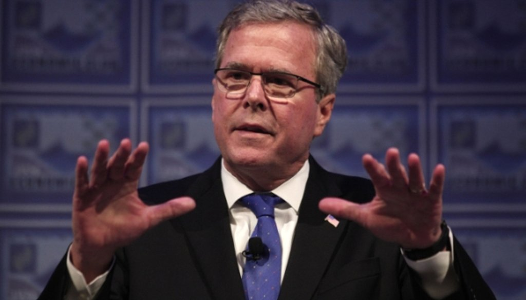 Former Florida Gov. Jeb Bush criticized perceived failures in the economy and jobs in a speech in Detroit on Feb. 4, 2015.