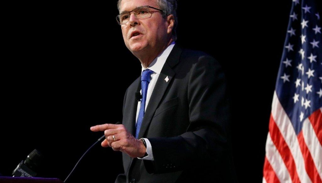 Former Florida Gov. Jeb Bush speaks in Detroit on Feb. 4, 2015.