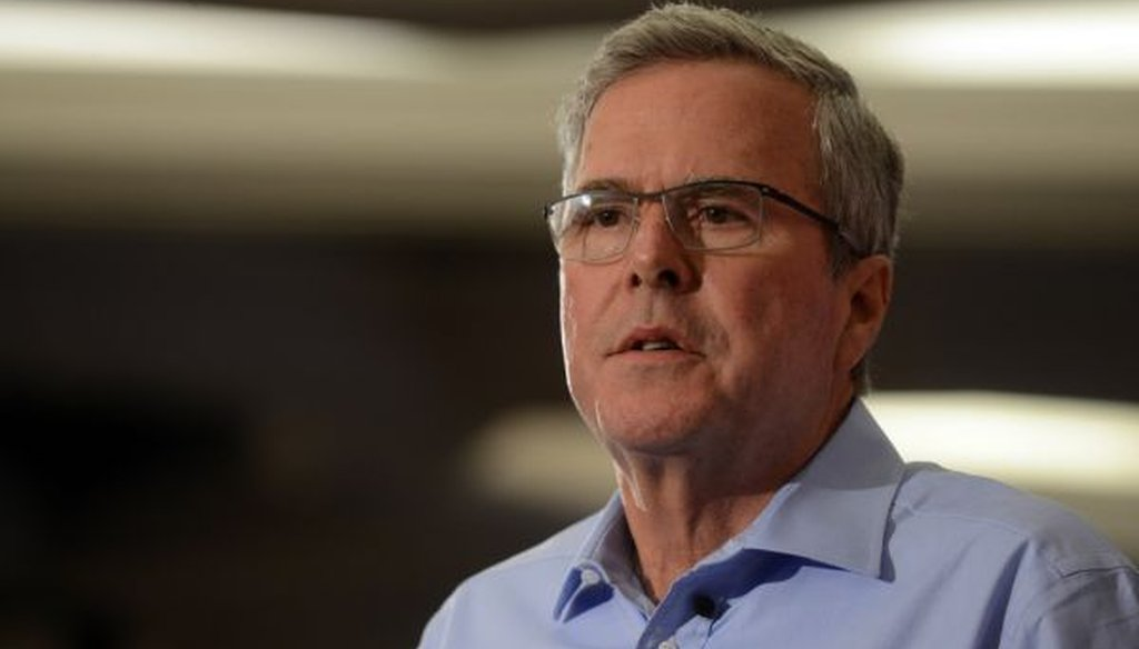 Former Florida Gov. Jeb Bush speaks at the First in the Nation Republican Leadership Summit on April 17, 2015 in Nashua, N.H.