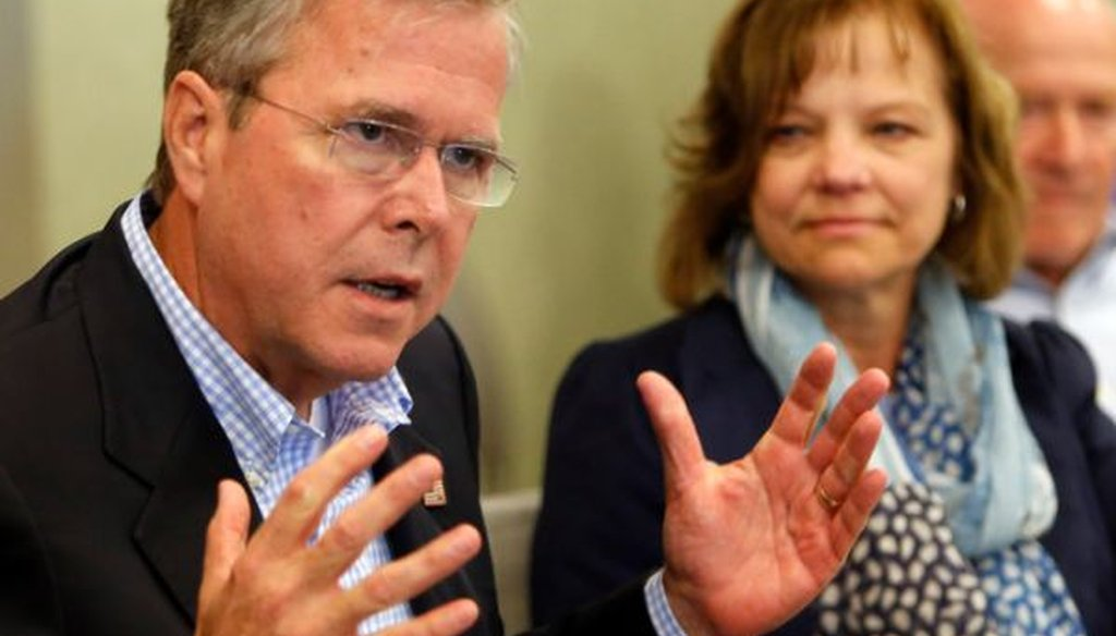 Former Florida Gov. Jeb Bush speaks during a meeting with business leaders in Portsmouth, N.H., on May 20, 2015.
