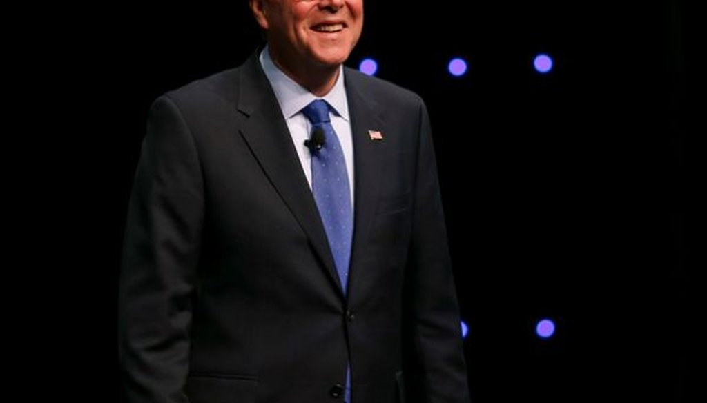 Former Florida Gov. Jeb Bush delivers a speech in Columbus, Ohio, during the annual meeting of the Ohio Chamber of Commerce on April 14, 2015.