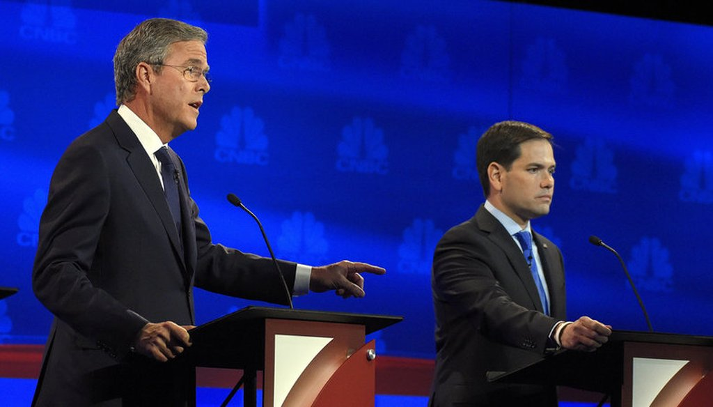 Former Florida Gov. Jeb Bush and U.S. Sen. Marco Rubio sparred during the CNBC debate Oct. 28, 2015. (Associated Press)
