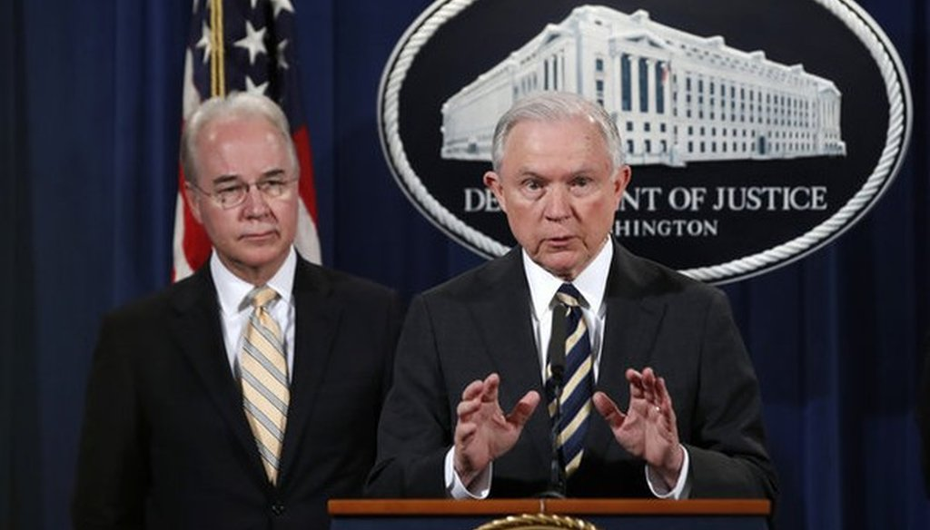 Attorney General Jeff Sessions, right, with Health and Human Services Secretary Tom Price, speaks about opioid addiction during a news conference, Thursday, July 13, 2017, at the Justice Department in Washington. (AP)