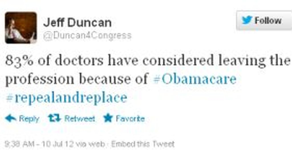 Rep. Jeff Duncan, R-S.C., sent this tweet during the debate over overturning President Barack Obama's health care law. But is the alarming statistic he cites accurate?
