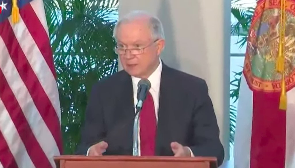 U.S. Attorney Jeff Sessions berates Chicago for its sanctuary city status during a speech in Miami on Aug. 16, 2017