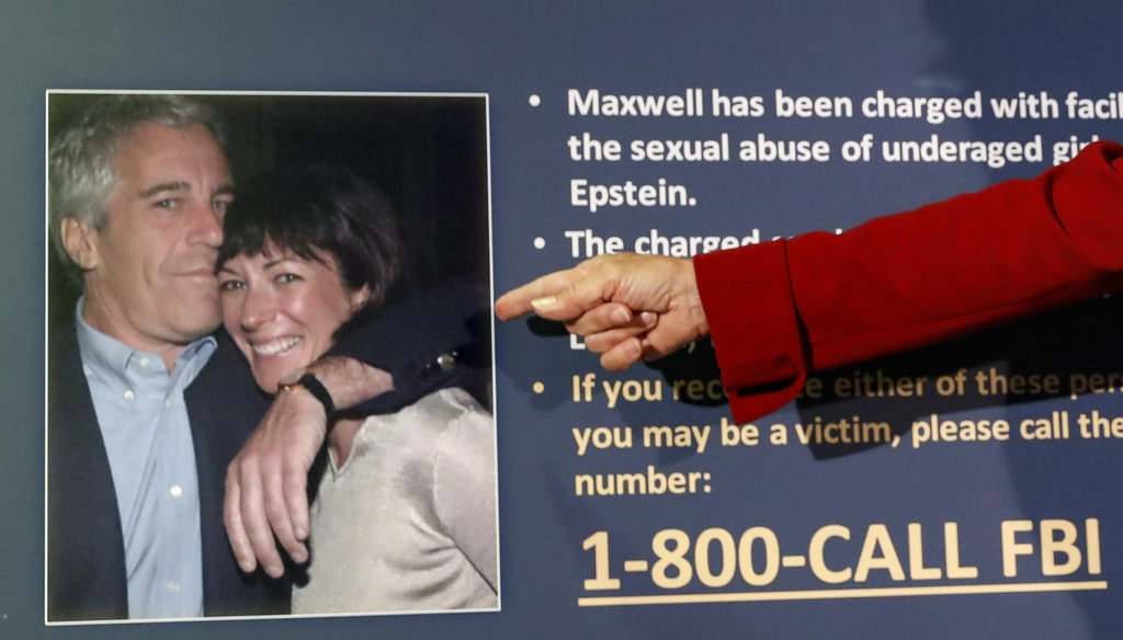 The late Jeffrey Epstein and his longtime companion, Ghislaine Maxwell, are pictured in an image presented at a news conference in New York City on July 2, 2020. Sexual abuse charges against Maxwell were announced. (AP)