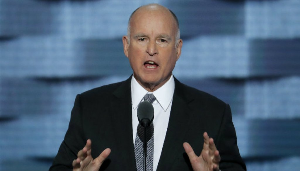 California Gov. Jerry Brown speaks during the third day of the Democratic National Convention in Philadelphia , Wednesday, July 27, 2016. (AP Photo/J. Scott Applewhite)