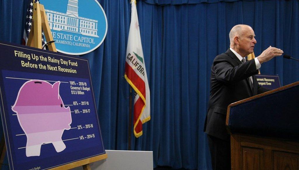 California Gov. Jerry Brown presents his final California budget Jan. 10, 2018. Andrew Nixon / Capital Public Radio
