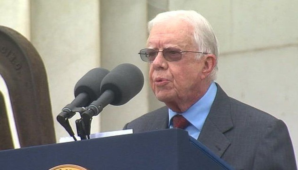 Former President Jimmy Carter speaks at the 50th anniversary observances of the March on Washington. Photo Credit: BBC.