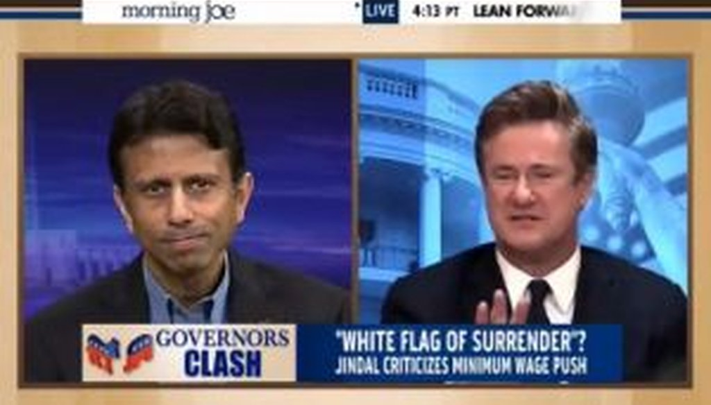 "Louisiana Gov. Bobby Jindal touted his state's economic growth on MSNBC's ""Morning Joe."" Were his facts right?"