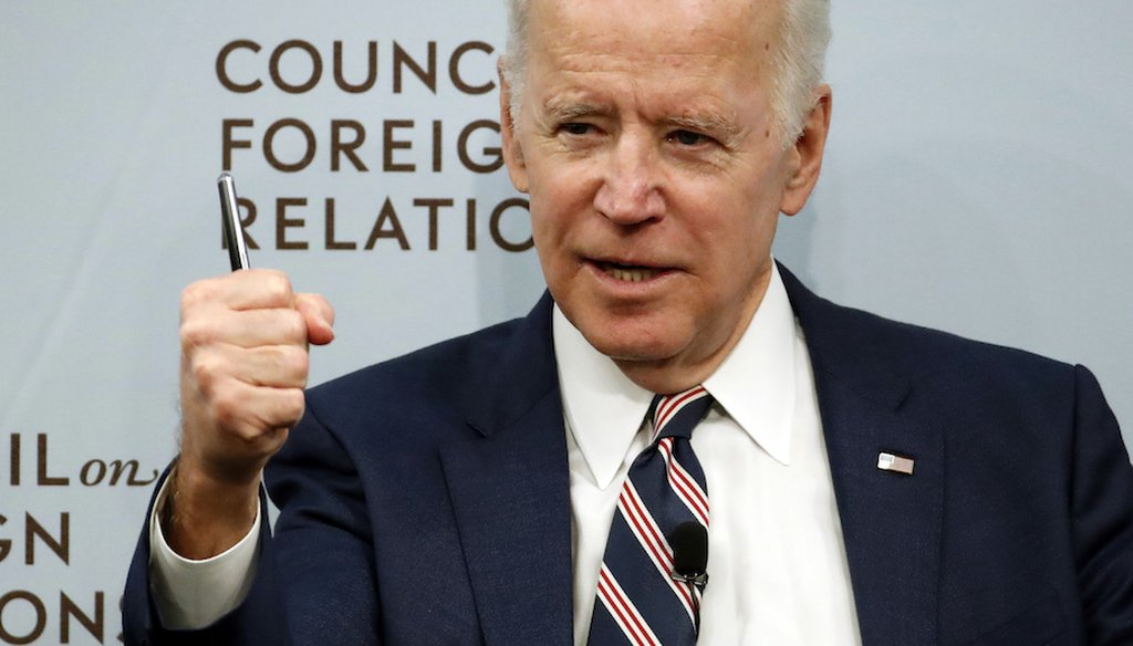 Former Vice President Joe Biden at the Council on Foreign Relations on Tuesday, Jan. 23, 2018, in Washington. (AP)