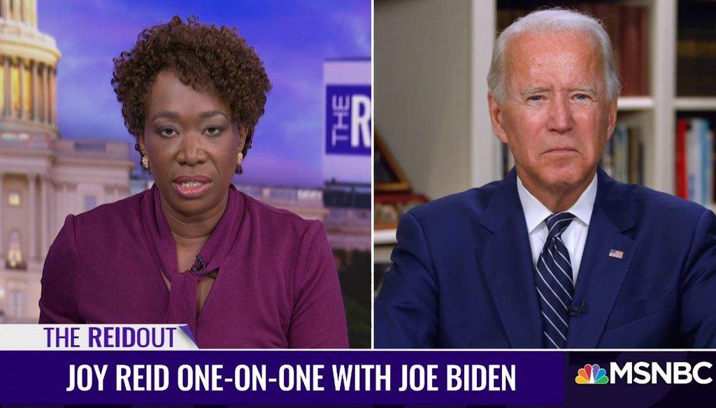 """Joe Biden appeared on Joy Reid's MSNBC show, """"The ReidOut,"""" on July 20, 2020. (Screenshot)"""