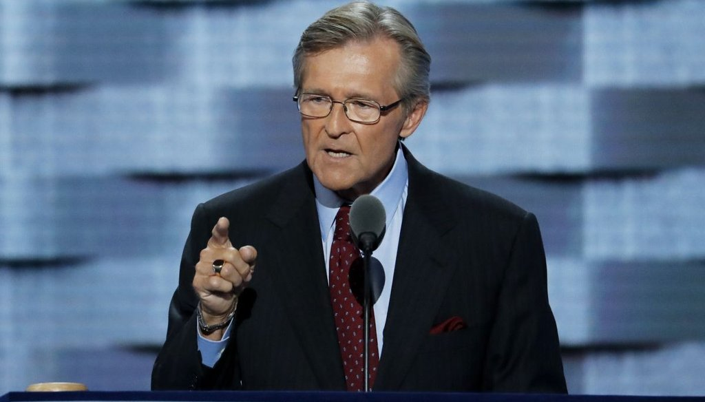 John Hutson, a retired Navy rear admiral, speaks during the third night of the Democratic National Convention in Philadelphia, PA. (AP)