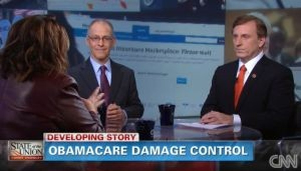 On CNN, host Candy Crowley moderated a conversation between Obamacare supporter Ezekiel Emanuel (center) and Rep. John Fleming, R-La., who opposes the law.