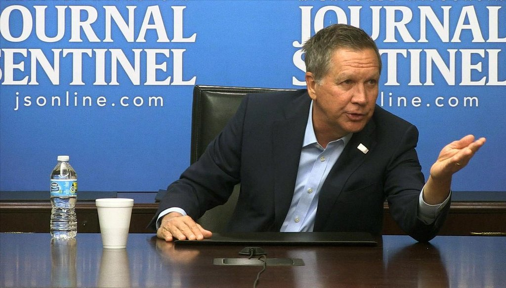 Republican presidential candidate and Ohio Gov. John Kasich met with the editorial board of the Milwaukee Journal Sentinel one week before Wisconsin's April 5, 2016 primary election. (Milwaukee Journal Sentinel photo)