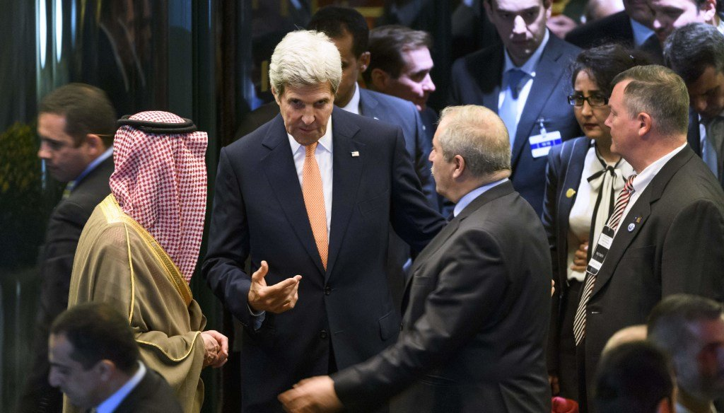 U.S. Secretary of State John Kerry (center) gestures next to Saudi Arabian Foreign Minister Adel al-Jubeir (left) and Jordanian Foreign Minister Nasser Judeh at the end of Syria peace talks on Oct. 15, 2016 in Lausanne, Switzerland. (Getty Images)