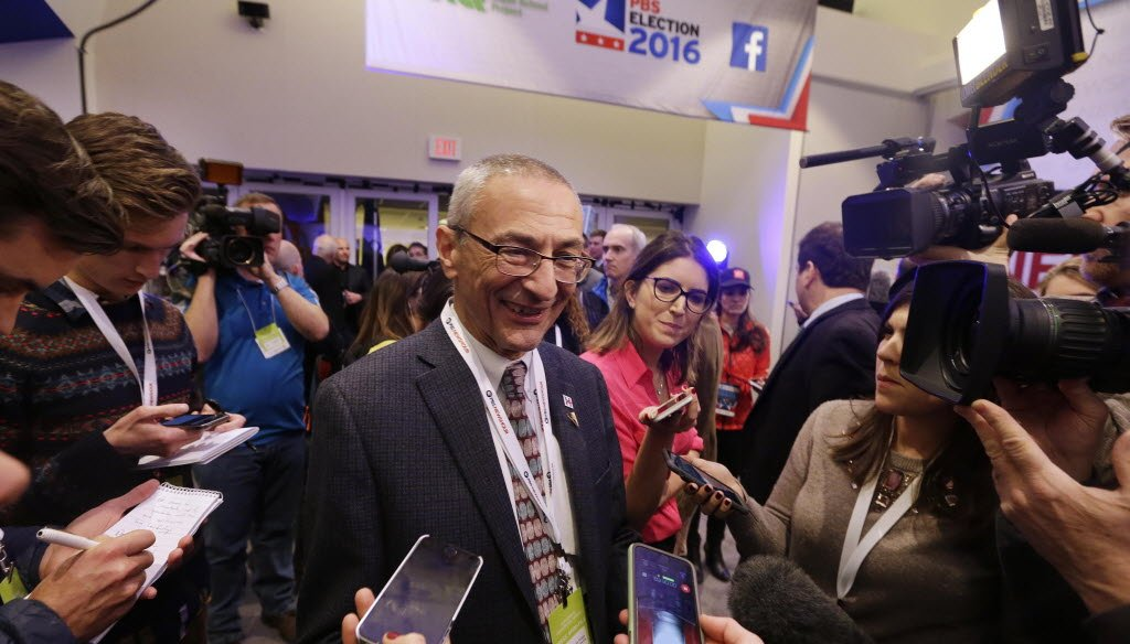 John Podesta, chairman of Hillary Clinton's 2016 presidential campaign, accompanied Clinton on a trip to Milwaukee for a debate she had with fellow Democratic presidential candidate Bernie Sanders on Feb. 11, 2016. (Milwaukee Journal Sentinel/Rick Wood)