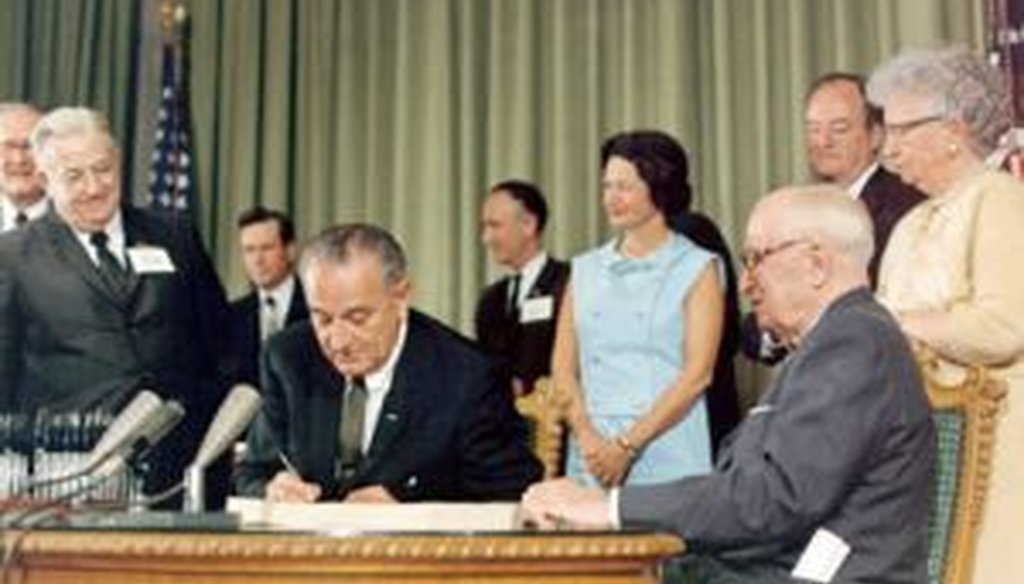 President Lyndon B. Johnson signs Medicare into law in 1965. How did U.S. health care work for seniors before that? We take a look at the statistics.