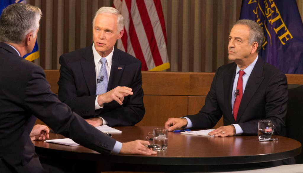 Republican U.S. Sen. Ron Johnson (left) and Democratic challenger Russ Feingold, who held the seat until 2010, face off in their second and final debate of the 2016 election. (Mark Hoffman, Milwaukee Journal Sentinel)