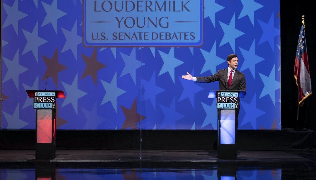 Democrat Jon Ossoff debated alone on Dec. 6 in Atlanta. His opponent, Sen. David Perdue, R-Ga., declined to participate. (AP)