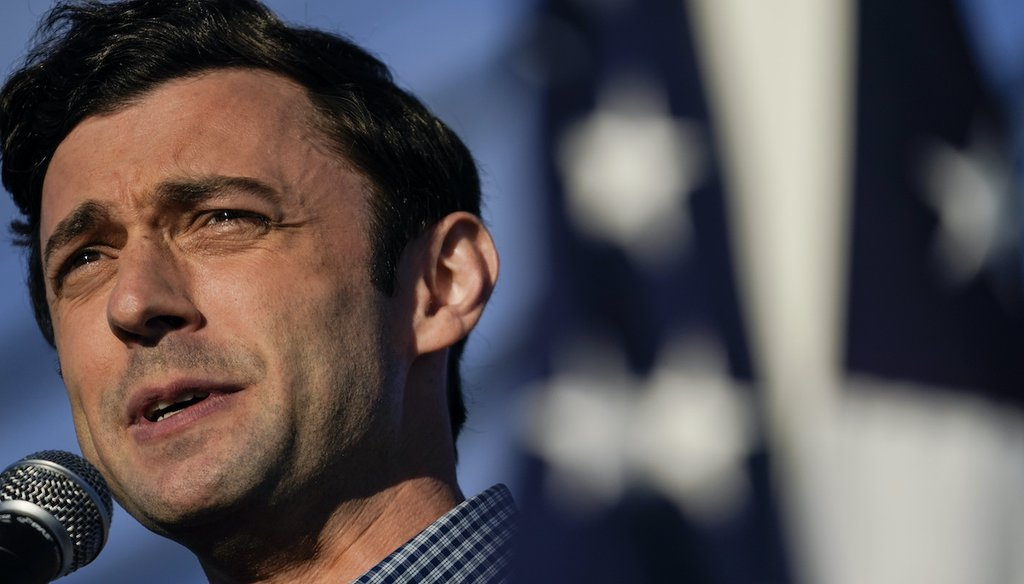 Jon Ossoff, a Democrat running against Sen. David Perdue, R-Ga., speaks during a rally on Nov. 15, 2020, in Marietta, Ga. (AP)