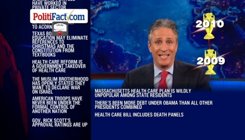 Jon Stewart talked about PolitiFact, Fox News and fact-checking on June 21, 2011.
